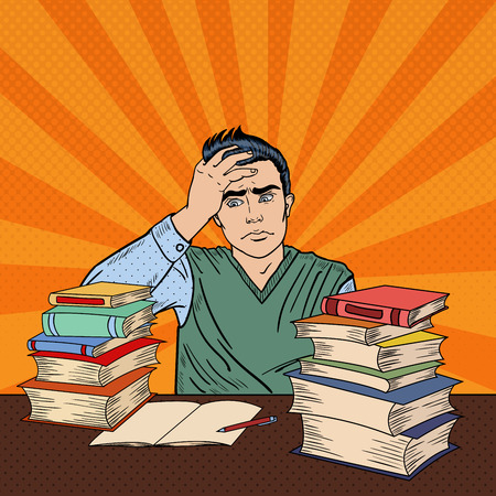Depressed Young Student Sitting at the Table with Stack of Books. Pop Art Vector illustration