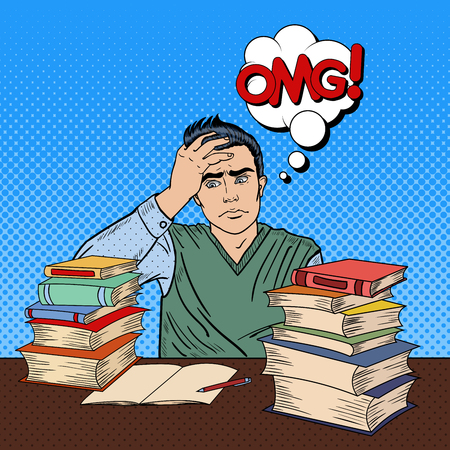 man studying: Depressed Young Student Sitting at the Table with Stack of Books. Pop Art Vector illustration