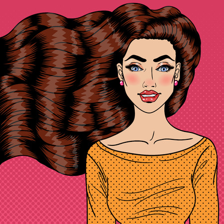 Beautiful Young Woman with Luxury Health Long Hair. Pop Art Vector illustration