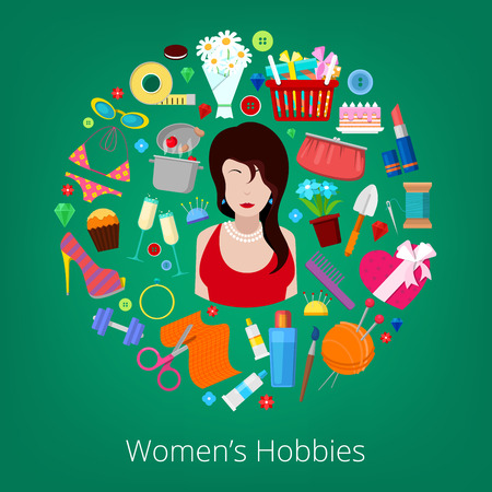 Woman Hobby Elements Set with Flowers, Cooking, Cosmetics and Fashion Elements. Vector illustration