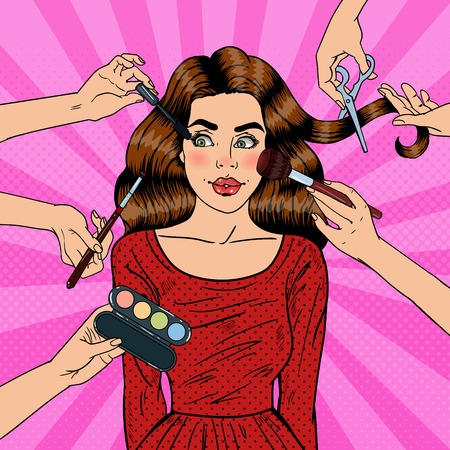 many hands: Many Hands Doing Glamour Make up for Young Woman. Pop Art Vector illustration