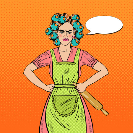 Angry Housewife Pop Art Woman Holding Rolling Pin. Vector illustration Illustration