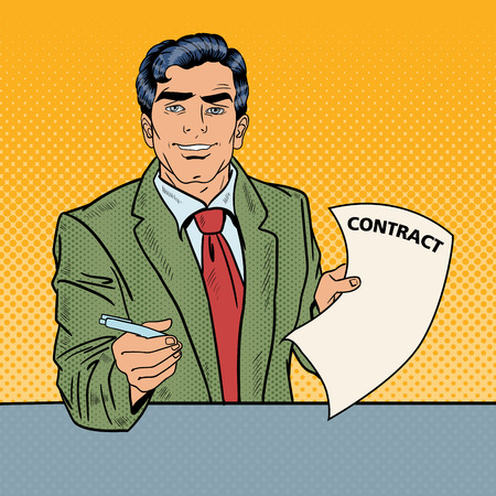 signing: Pop Art Businessman Holding a Pen for Signing Contract. Vector illustration
