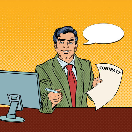 signing contract: Pop Art Businessman Holding a Pen for Signing Contract. Vector illustration