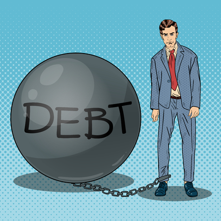 chained: Pop Art Sad Businessman Chained to a Stone Debt Ball. Vector illustration