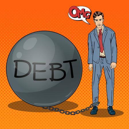 sad businessman: Pop Art Sad Businessman Chained to a Stone Debt Ball. Vector illustration