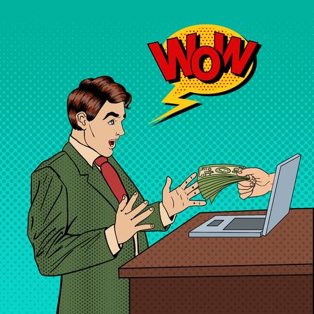 Emocionado Pop Art Business Man que recibe dinero de la computadora portátil. Ilustración vectorial Foto de archivo - 62070503
