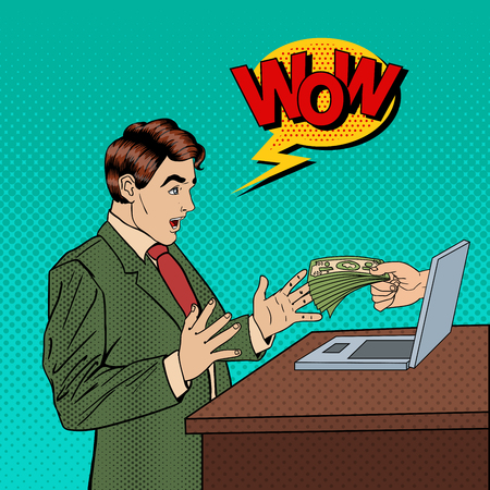 Excited Pop Art Business Man Receiving Money from Laptop. Vector illustration Ilustrace