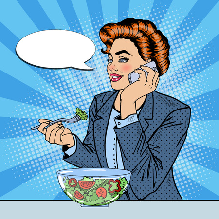 talking: Pop Art Business Woman Talking on the Phone and Eating Salad. Vector illustration