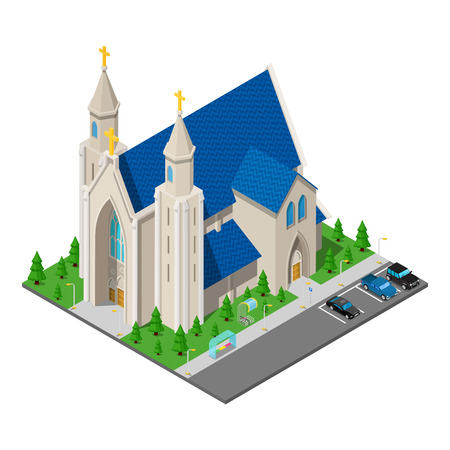 Isometric Christian Catholic Church Building. Vector illustration Illustration