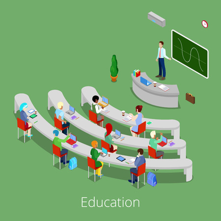 auditory: Isometric Educational Process. Flat 3d University Lecture Room with Teacher and Students. Vector illustration
