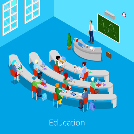 lecture room: Isometric Educational Process. Flat 3d University Lecture Room with Teacher and Students. Vector illustration