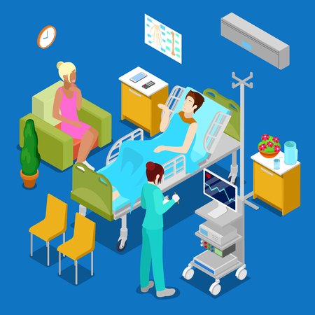 3d nurse: Isometric Hospital Room with Patient and Nurse. Health Care 3d Concept. Vector illustration