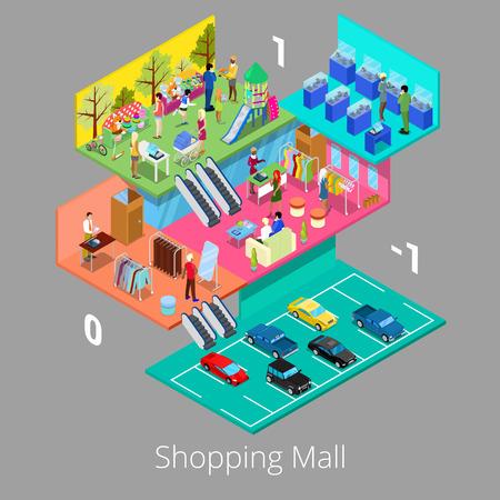 Isométrica centro comercial interior con aparcamiento Boutique piso y tienda de ropa. ilustración vectorial