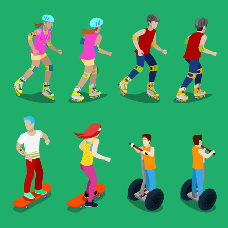 rollerskates: Isometric Active Sporty People on Roller-Skates, Segway and Skateboarding. Vector illustration