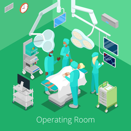 Isometric Surgery Operating Room with Doctors on Operation Process. Vector illustration Stock Illustratie