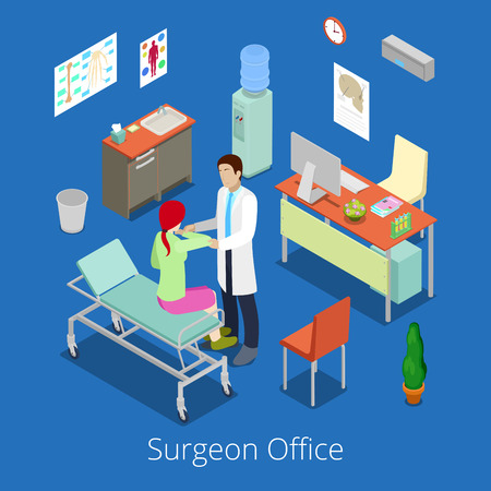ward: Isometric Surgeon Office with Doctor Examinating Patient. Vector illustration