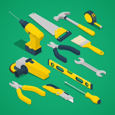 Isometric Work Tools Set with Drill Screwdriver Level and Hammer. Vector illustration Illustration