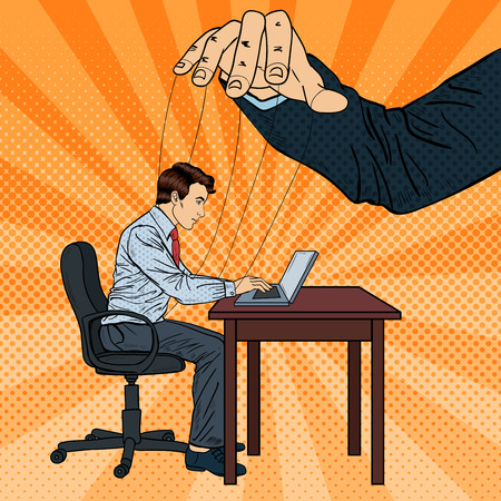 manipulating: Puppeteer Controlling Business Man at Office Work. Pop Art Vector illustration