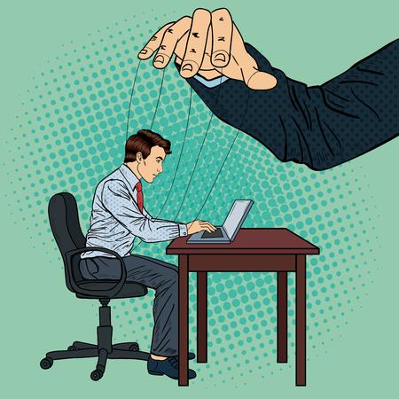 Puppeteer Controlling Geschäftsmann im Büro arbeiten. Pop-Art-Vektor-Illustration