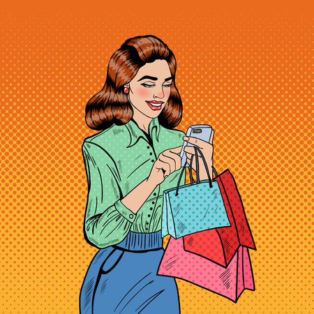 smart phone woman: Happy Woman with Bags Using Smart Phone at Shopping. Pop Art Vector illustration