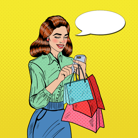 smart woman: Happy Woman with Bags Using Smart Phone at Shopping. Pop Art Vector illustration