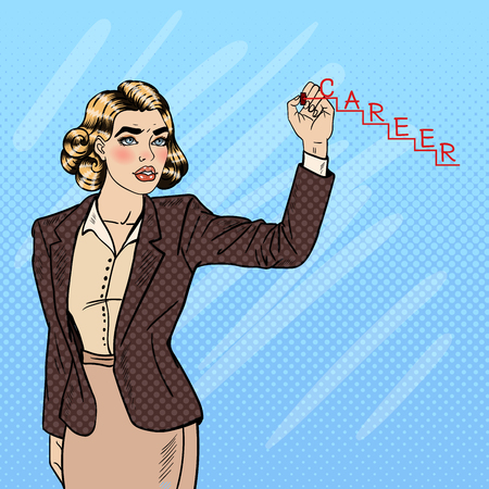 rt: Beautiful Young Pop Art Woman Writing Word Career on the Glass. Vector illustration Illustration
