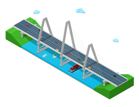 3d boat: Isometric River Bridge with Ship Boat Highway and Cars. Flat 3d Vector illustration Illustration