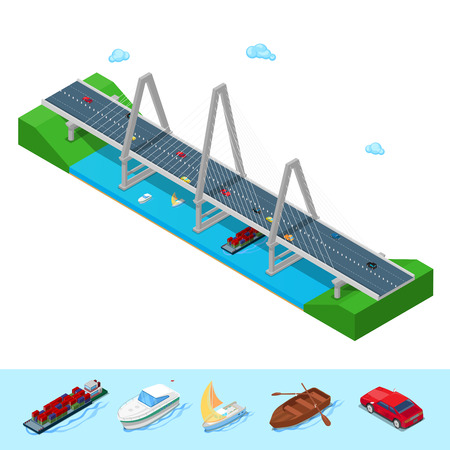 Isometric River Bridge with Ship Boat Highway and Cars. Flat 3d Vector illustration Illustration