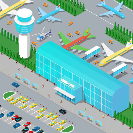 transportation facilities: Isometric Airport Infrastructure with Planes Helicopter Runway and Parking Area. Flat 3d Vector illustration Illustration