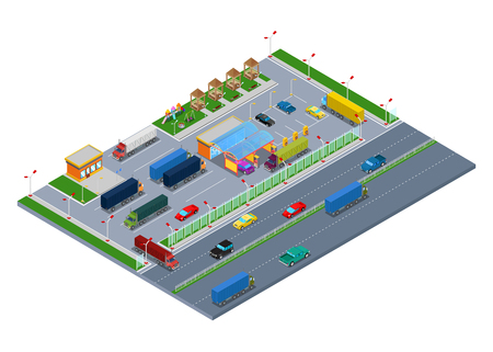 Isometric Road Highway Infrastructure with Fuel Station Truck Parking and Rest Area. Vector 3d Flat illustration Stock Illustratie