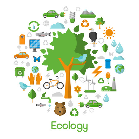 energy savings: Ecology Environment Green City Concept Vector Icons Set with Energy Savings Technologies Illustration