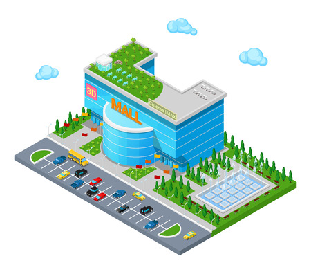 Isometric Shopping Mall Building with 3D Imax Cinema Park and Fountain. Flat 3d Vector illustration Vectores