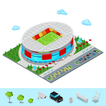 Isometric Football Soccer Stadium Building with Park and Parking Area for Cars. Flat 3d Vector illustration