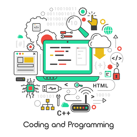 Coding and Programming Line Art Thin Vector Icons Set with Laptop and Computer Languages