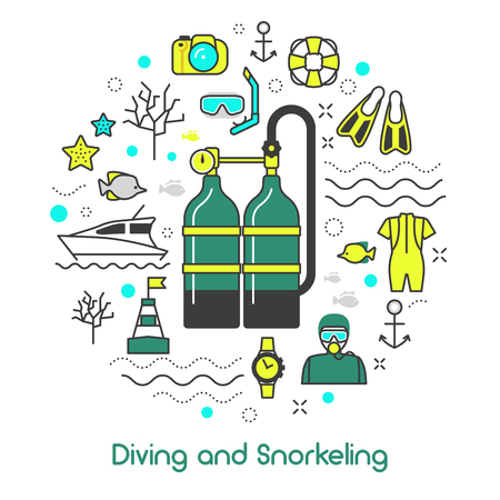 snorkelling: Diving Snorkeling Scuba Equipment Line Art Thin Vector Icons Set
