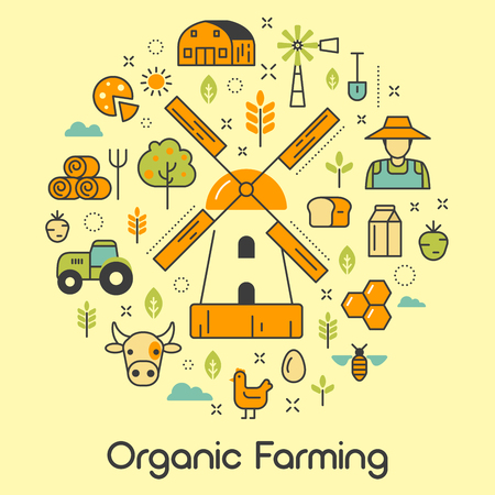 skinny: Organic Farming Line Art Thin Vector Icons Set with Windmill and Eco Products
