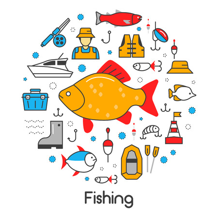sinker: Fishing Line Art Thin Vector Icons Set with Fisherman and Tools Illustration