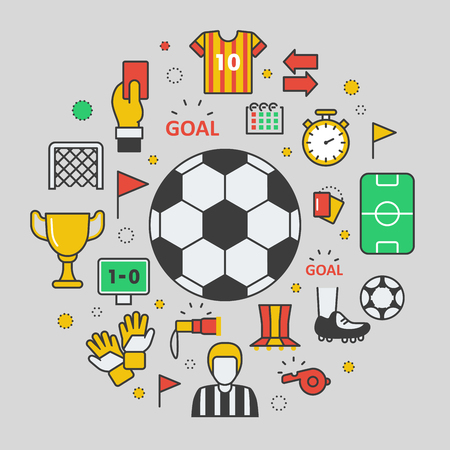 judge players: Football Soccer Line Art Thin Vector Icons Set with Ball and Sport Elements