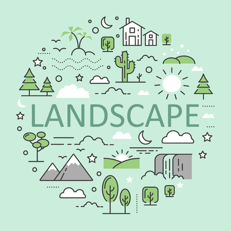 Landscape Nature Line Art Thin Vector Icons Set with Mountains Forest Urban Illustration