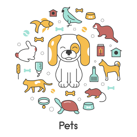 Pets Line Art Thin Vector Icons Set with Dog Cat Bird and Fish Illustration