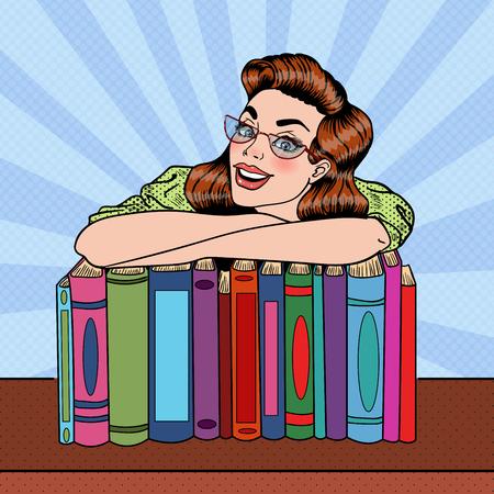 Giovane studente di arte pop pop felice con pila di libri nella biblioteca. Illustrazione vettoriale Archivio Fotografico - 62507500