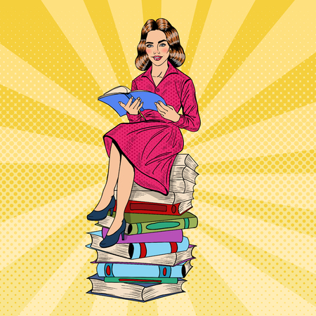 Pretty Pop Art Young Woman Sitting and Reading Book on Stack of Books. Vector illustration