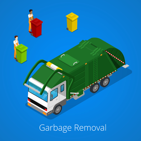removal: Garbage Removal with Isometric People and City Garbage Truck. Vector illustration Illustration