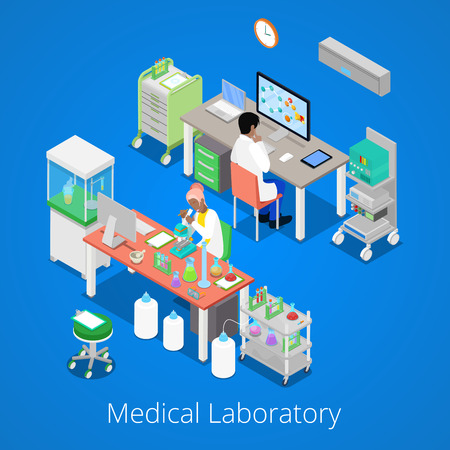 pharmaceutics: Isometric Laboratory Analysis with Medical Staff and Chemical Research. Vector illustration Illustration