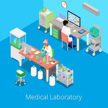 Isometric Laboratory Analysis with Medical Staff and Chemical Research. Vector illustration Illustration