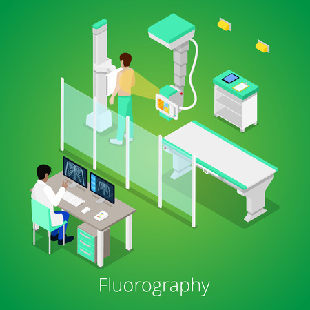 radiology: Isometric Radiology Fluorography Procedure with Medical Equipment and Patient. Vector illustration Illustration