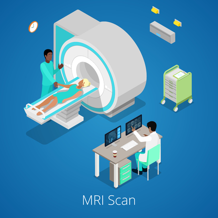 medical scanner: Isometric Medical MRI Scanner Imaging Process with Doctor and Patient. Vector illustration