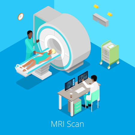 Isometric Medical MRI Scanner Imaging Process with Doctor and Patient. Vector illustration
