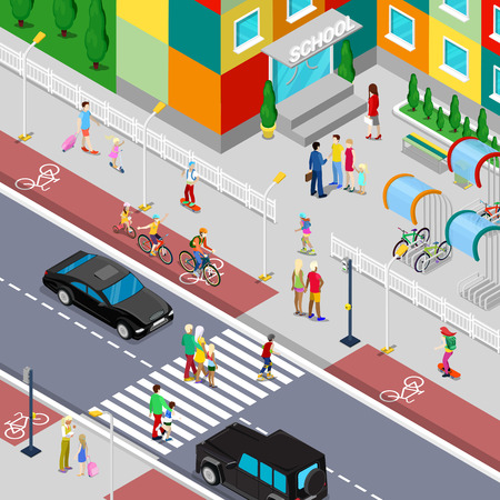 Isometric Pupils Going to School Building with Parents. Vector 3d Flat illustration